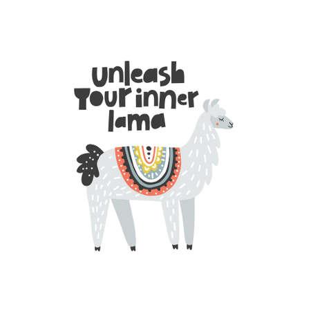 Libérez votre lama intérieur - illustration vectorielle inspirante d'un lama adorable avec lettrage. Idéal pour les affiches, les invitations, la décoration, etc. Banque d'images - 91664158
