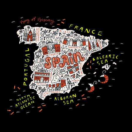 漫画のスタイルで作られたスペインの地図。