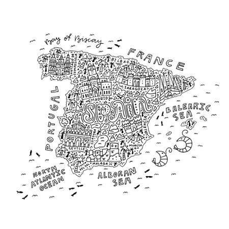 抗ストレスブックを着色するためのスペインの手描きの地図 - すべての主要な観光スポットの概要。  イラスト・ベクター素材