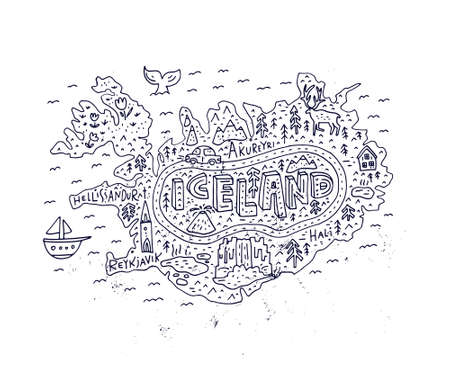 Cartoon map of Iceland. Handdrawn illustration with all main tourist attractions. Great design element for travel blog, poster, tour guide company. Vector cartography. Stock Illustratie