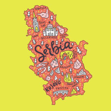 Mapa dibujado mano de Serbia. Tepografía de dibujos animados con símbolos del país y letras Foto de archivo - 92024998
