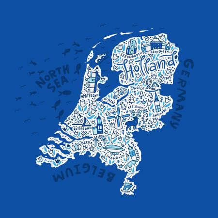 異なるシンボルとレタリングを持つオランダの地図。ベクトルイラスト。