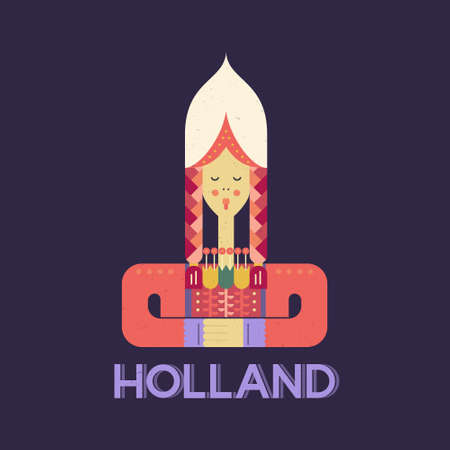Dutch girl in traditional clothes - symbol of Holland made in flat vector style. 向量圖像