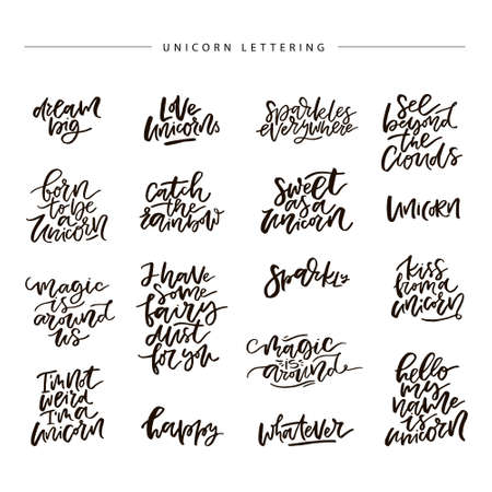 Unique handdrawn lettering quote about unicorns.