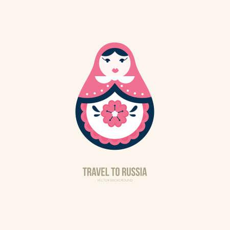 入れ子になった人形のベクトルイラスト - ロシアの伝統的なシンボル