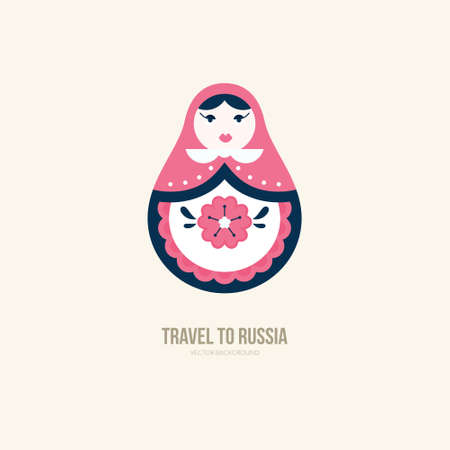 Vector illustration of nested doll - traditional symbol of Russia Ilustração