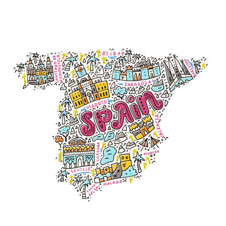 Map of Spain made in cartoon style.