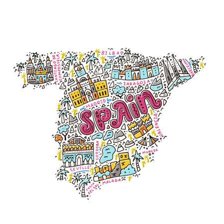 Kaart van Spanje gemaakt in cartoon-stijl.