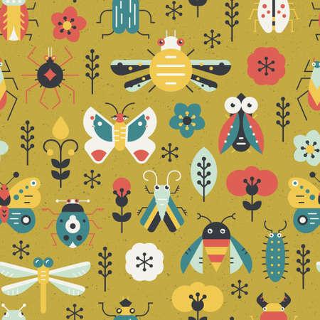 Mooi geometrisch patroon met insecten en insecten. Kleurrijke naadloze textuur voor uw ontwerp gemaakt in vector.