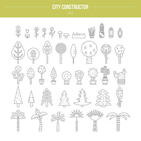 Big set of line vector trees - different botanical illustrations, great for map creator.