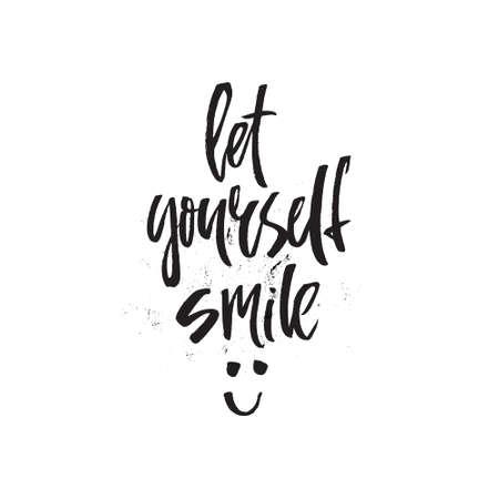 deixe-se sorrir - citação de letras handdrawn