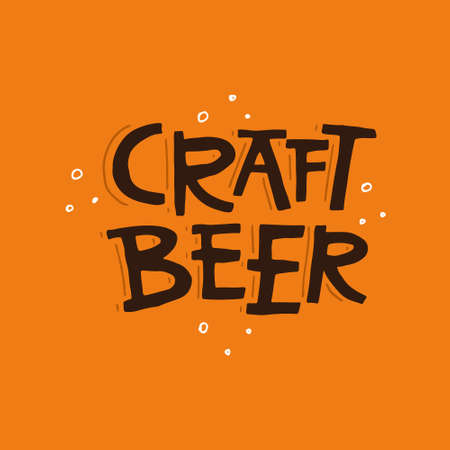 Hand drawn illustration with lettering craft beer.