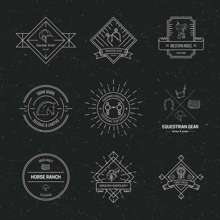 Hipster-Sammlung von Logos mit verschiedenen Symbolen aus der Pferdeindustrie. Etiketten für Reitschule oder Reitsportgeschäft. Vektor Strichzeichnungen. Logo