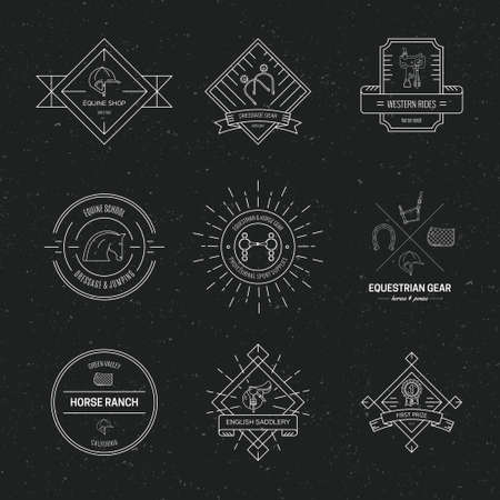 Hipster collection of logotypes with different horse and equine industry symbols. Labels for horse riding school or equestrian supplies shop. Vector line art.