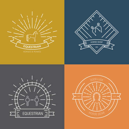 Hipster collection of logotypes with different horse and equine industry symbols. Labels for horseriding school or equestrian supplies shop. Vector line art. Illustration