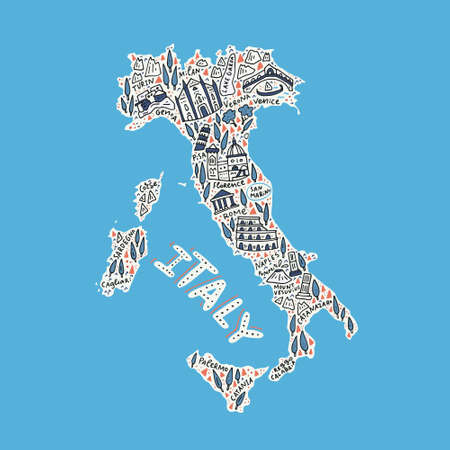 Doodle illustration - map of Italy.