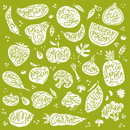 Set of various hand drawn fruits and vegetables. Sketches of different food.
