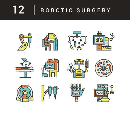 Modern line style set with robotic surgery and modern medicine icons.
