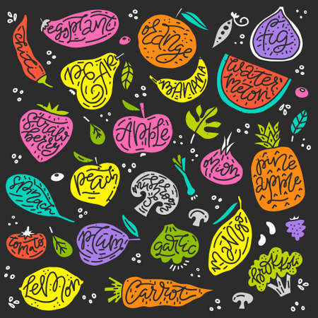 Colorful vector set of fruits and vegetables. Vegetarian and vegan food in isolated modern design. 向量圖像