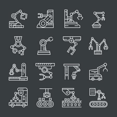 Line vector illustration of robotic arms. Illustration