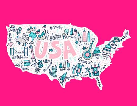 voyage à la vue de bande dessinée usa . les états-unis avec toutes les villes et les villes touristiques faites en évidence . vecteur