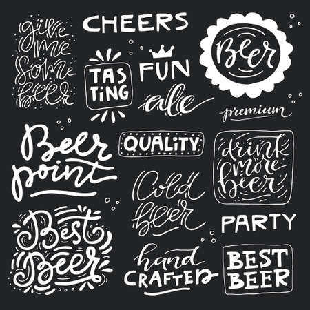 Collection of beer related doodle illustrations. Clip art for Oktoberfest or brewery label. Vettoriali