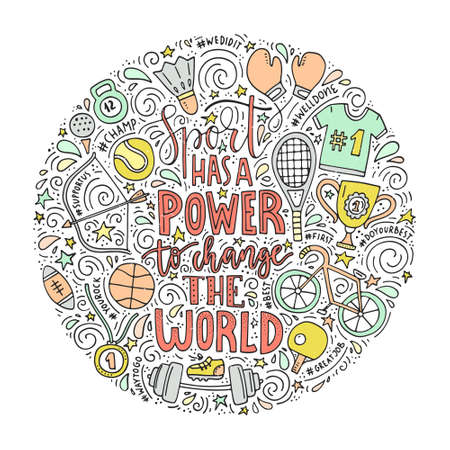 Unique vector concept with handdrawn lettering and sport symbols. Sport has a power to change the world - hand written phrase. Archivio Fotografico - 100912887