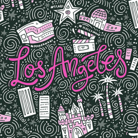 Los Angeles - lettering and symbols of the city - banner template 일러스트