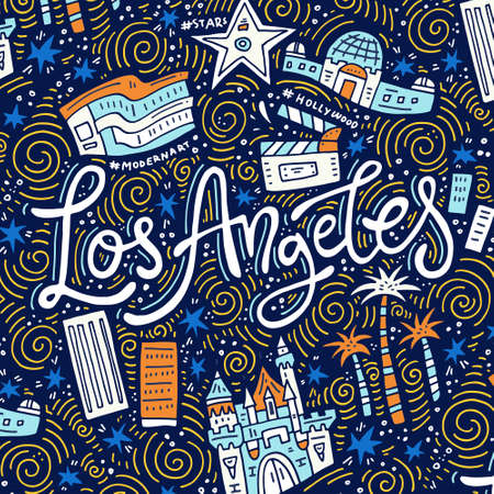 Los Angeles - lettering and symbols of the city - banner template 向量圖像