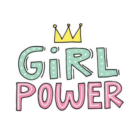 Girl power vector. Woman motivational slogan. Inscription for t shirts, posters, cards. Çizim
