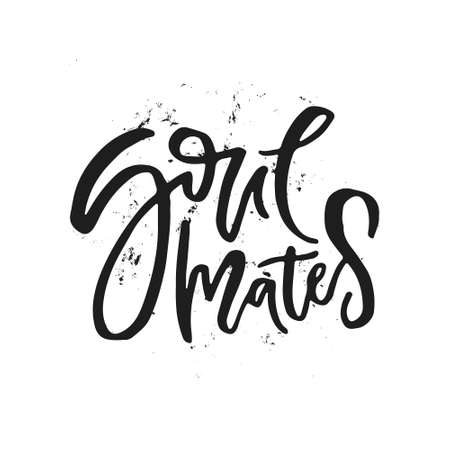Word soulmates - unique sign made with brush. Handdrawn lettering converted to vector. Romantic design for save the date or wedding design.