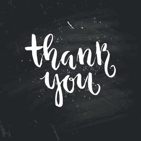 Thank you calligraphic lettering on black background Illustration