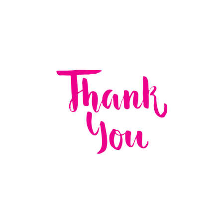 Thank you - handdrawn calligraphic lettering. Unique typographic element for postcard, greeting card or thank you card. Vector illustration.