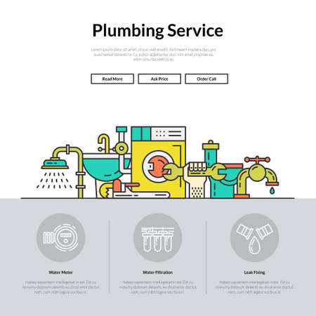 One page layout for plumbing service web site. Different plumber and house repair services. Hero illustration.