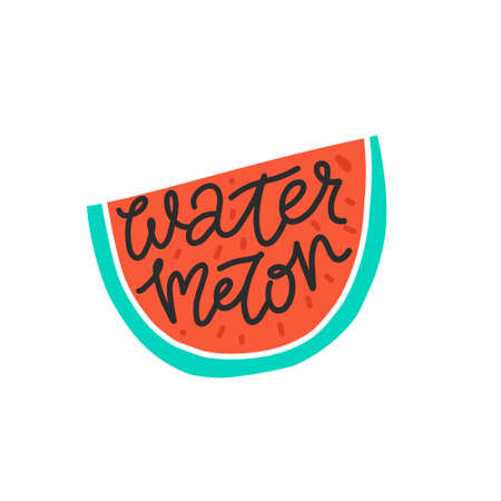Colorful vector icon of watermelon. Vegetarian and vegan food in isolated modern design.