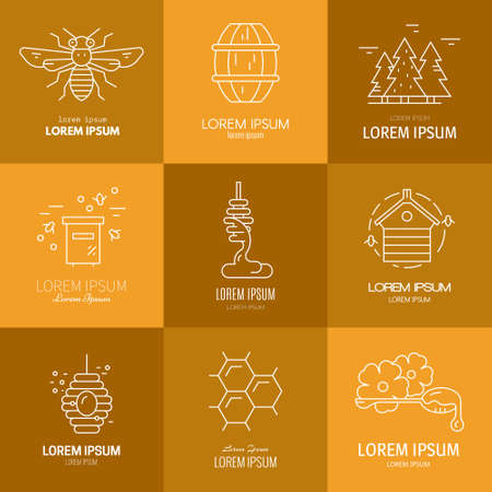 Logotype collection with honey, honeycomb, honeybee, flowers, dipper with honey. Eco product label. Stock Illustratie