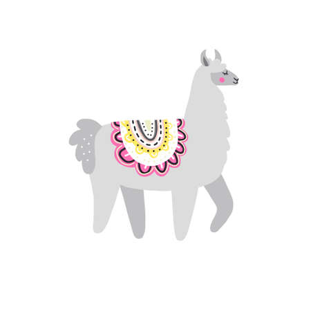 Gray lama symbolic picture. Hand drawn vector illustration for greeting cards, t-shirts, posters. Illusztráció