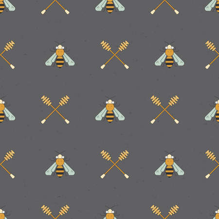 Simple vector honey pattern. Beekeeper background. Seamless pattern collection. 免版税图像 - 101067276