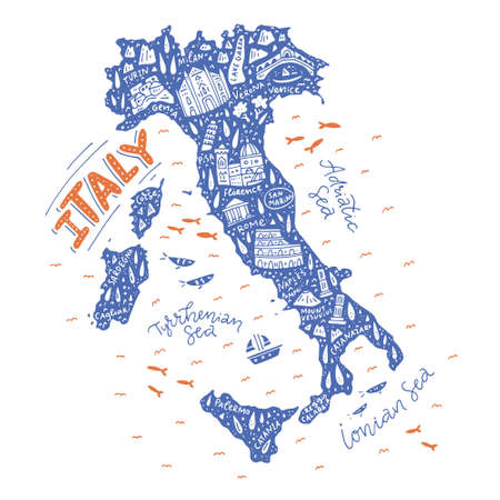 Map of Italy - handdrawn illustration on white background.
