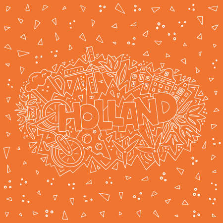 Holland vector illustration. All main symbols of the country, tourist banner.