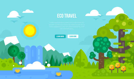 Ecological travel concept vector illustration. Useful for postcards, banners, posters, book covers, etc. Illustration