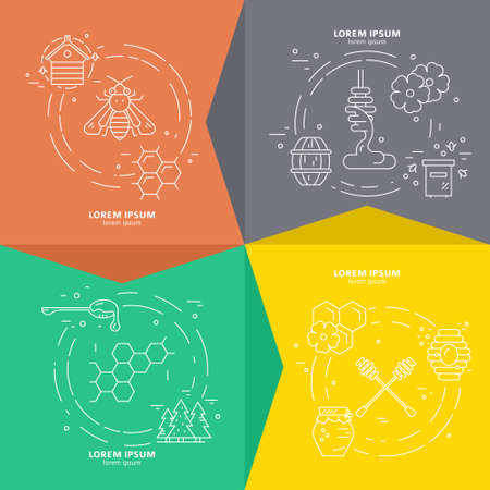 Modern set of four banners with honey symbols - bee, forest, dipper, honeycomb, hive. Vector line concept.