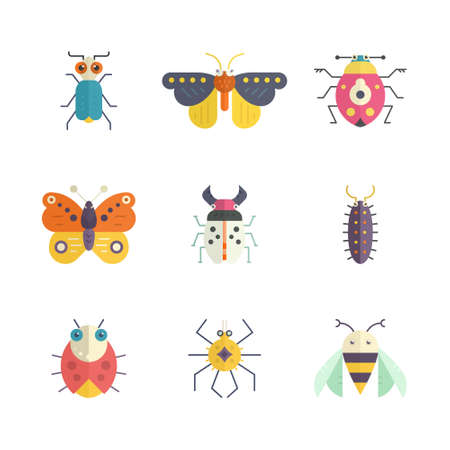 Vector collection of insects made in modern flat style. Colorful bugs for your design. Nature elements made in vector. 向量圖像