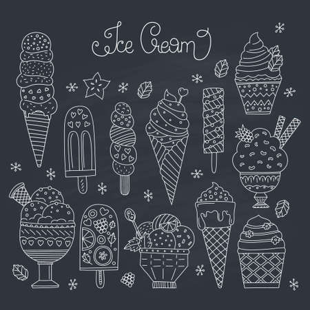 Collection of cute vector hand drawn cartoon ice cream. Cones and ice creams with different flavours made in doodle style. Banque d'images - 101043272