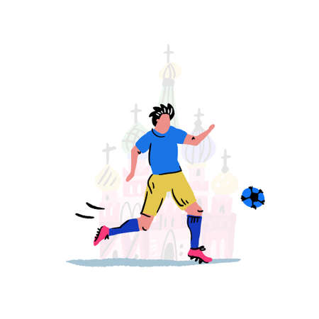 Football player with Kremlin on the background. Handdrawn vector art in cartoon style.