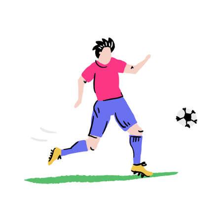 Football player kicking the ball. Handdrawn vector art in cartoon style. Illustration