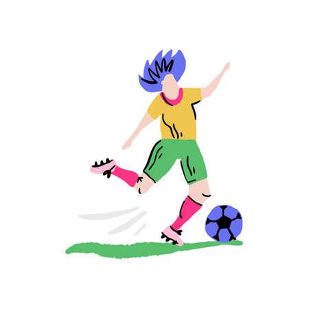 Football player prepared to kick the ball. Handdrawn vector art in cartoon style. Ilustração