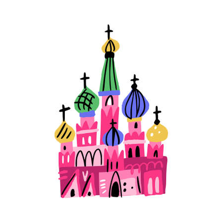 Saint Basil Cathedral as symbol of Moscow. Handdrawn illustration made in doodle style
