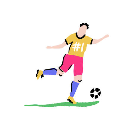 Football player on white background. Vector illustration made in doodle style.