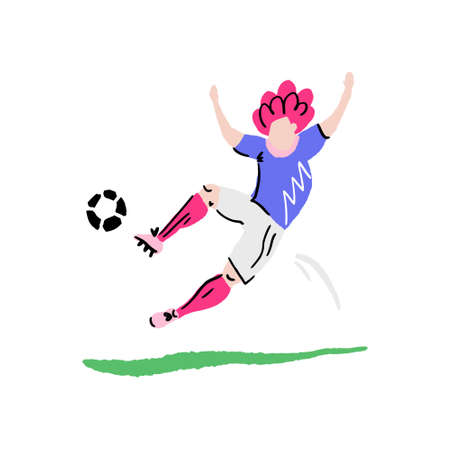Cartoon football player in action. Vector illustration made by hand.